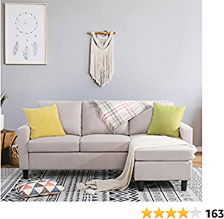Shintenchi Convertible Sectional Sofa Couch, Modern Linen Fabric L-Shaped Couch 3-Seat Sofa Sectional,Versatile Sectional Sofa