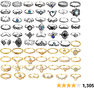 ONESING 25-69 Pcs Knuckle Rings for Women Stackable Rings Set Girls Bohemian Retro Vintage Joint Finger Rings Hollow Carved Flowers