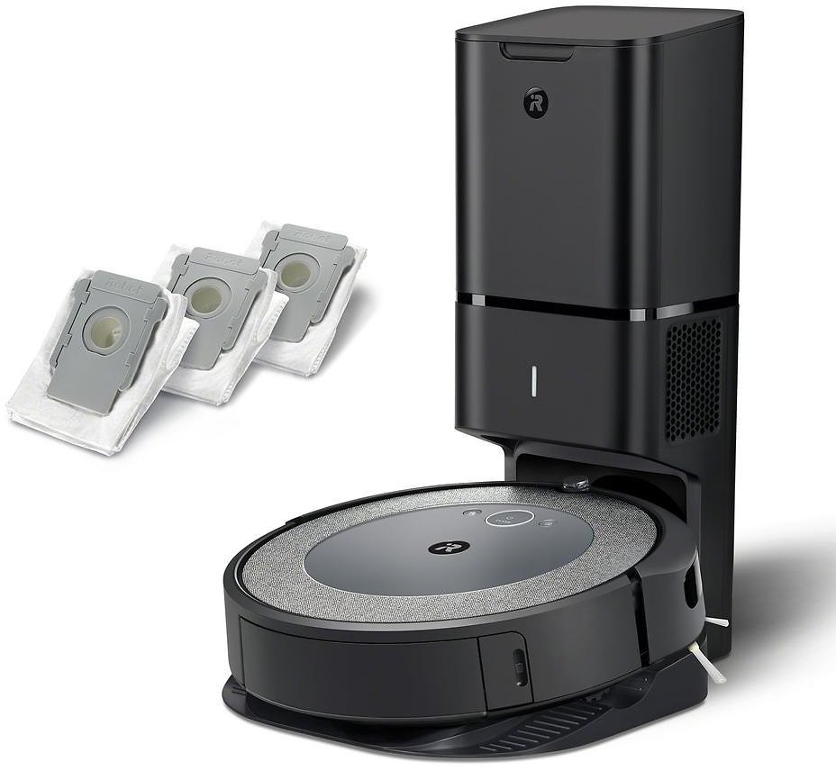 IRobot Roomba I3+ (3550) Wi-Fi Connected Robotic Vacuum Cleaner with Automatic Dirt Disposal (+ 3 Extra Dirt Disposal Bags)-i35502B