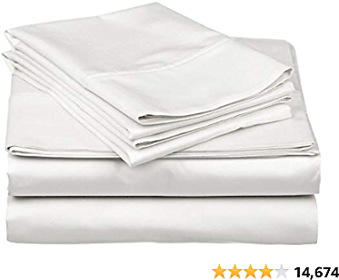 40% Off True Luxury 1000-Thread-Count 100% Egyptian Cotton Bed Sheets, 4-Pc King White Sheet Set, Single Ply Long-Staple Yarns,