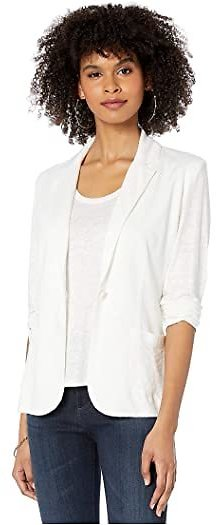 Linen/Elastane One-Button Blazer