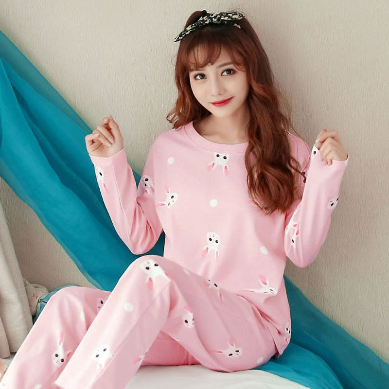 US $8.62 20% OFF|Spring and Autumn Milk Silk Long Sleeve Pants Two Piece Suit Girl Style Cute Cartoon Pajamas Women Thin Household Women's Wear|Pajama Sets| - AliExpress