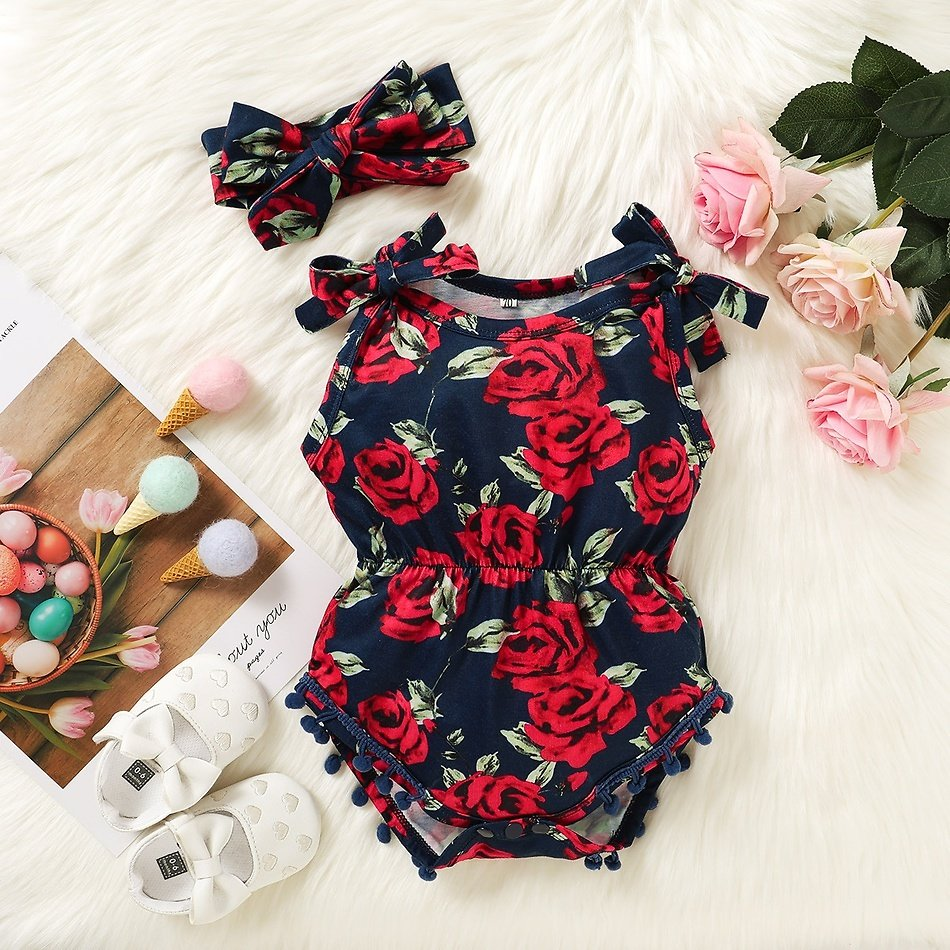 2-piece Baby Floral Allover Strappy Romper with Headband