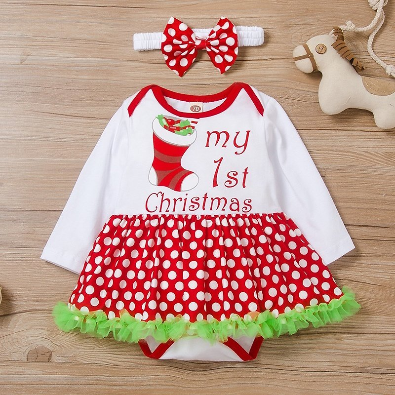 Baby Girl Christmas My First Christmas Letter Romper and Headband