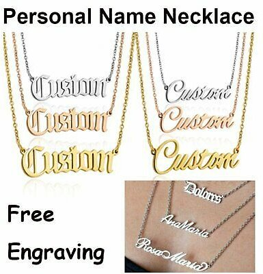 Personalized Silver Name Stainless Steel Letter Custom Pendant Necklace Choker