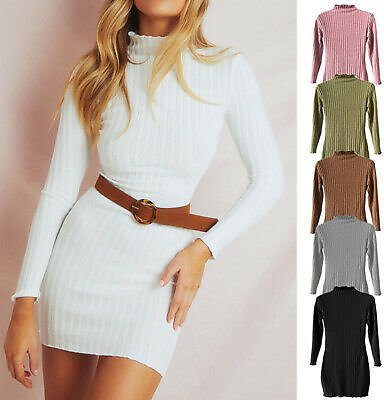 Women Striped Long Sleeve Sexy Mini Dress Autumn Cocktail Party Knitted Dress