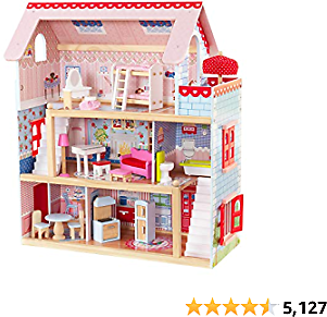 KidKraft Chelsea Doll Cottage with Furniture, 3 Levels, 5 Rooms and a Balcony