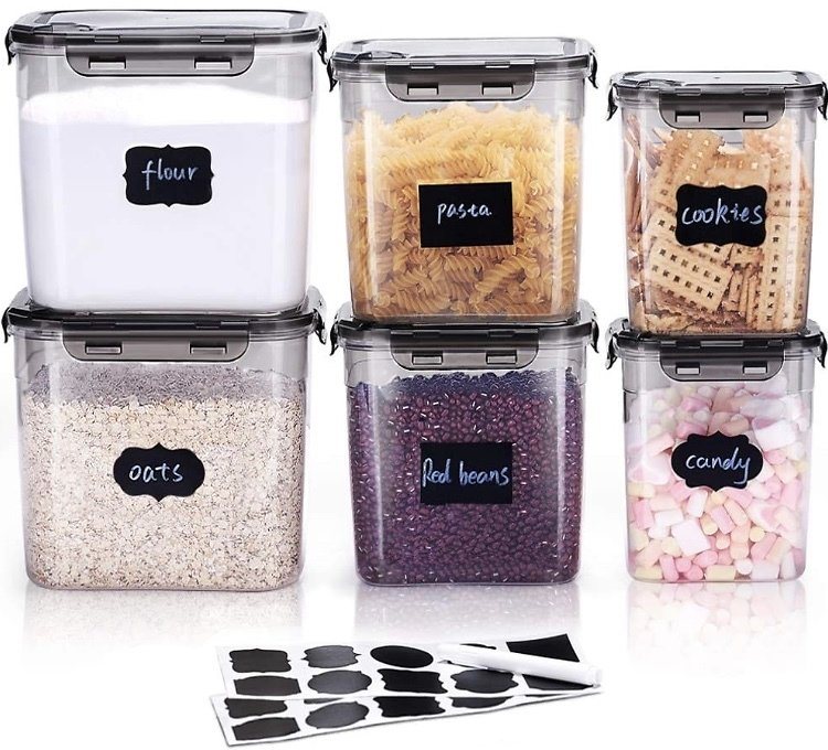 6 Pieces Food Storage Containers with Lids and 20 Labels