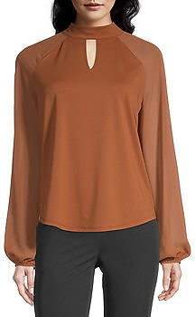 Womens Keyhole Neck Long Sleeve Blouse ON SALE