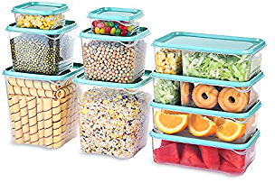 TUSEASY Food Storage Containers Set With Lids Airtight Invisible Lock Kitchen BPA Free Plastic Storage Container Freezer Supplies For Meal Lunch Large Small Medium Stackable 20 Pieces