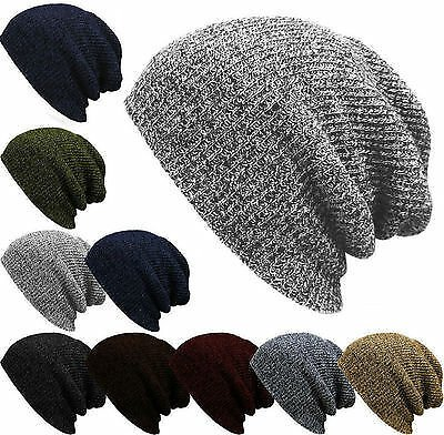 Mens Womens Knit Baggy Beanie Winter Hat Ski Slouchy Chic Knitted Cap Skull US