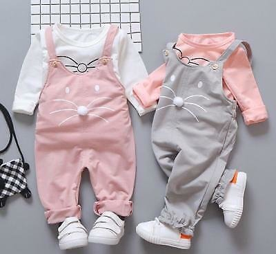 1 Set Baby Kids Girls Clothes Daily Spring Fall Outfits Top+rompers Overall CAT