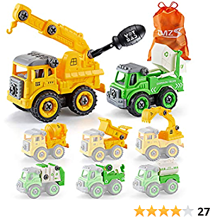 Take Apart Construction Truck STEM Toy for 3 4 5 6 Year Old Boy, 8 in 1 Kids Drill Screw Set with Excavator Crane Dump Garbage Truck, Building Kit Assemble Vehicles Build Your Own Car Toddler Gift…