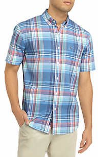 Crown & Ivy™ Men's Short Sleeve Madras Plaid Woven Shirt