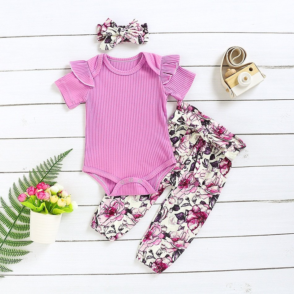 3-piece Solid Short-sleeve Bodysuit and Allover Pants Set