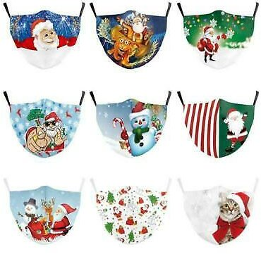 Christmas Printed Face Mask Protective Covering Masks Washable Reusable Adults