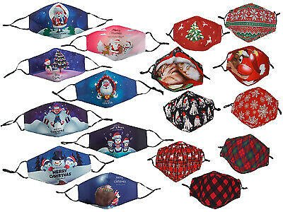 Christmas Protective Face Masks Washable Reuseabl Face Covering Cute Xmas Design