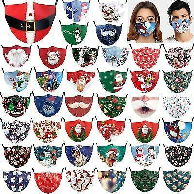 Christmas Print Adult Reusable Face Mouth Nose Masks Breathable Washable Mask