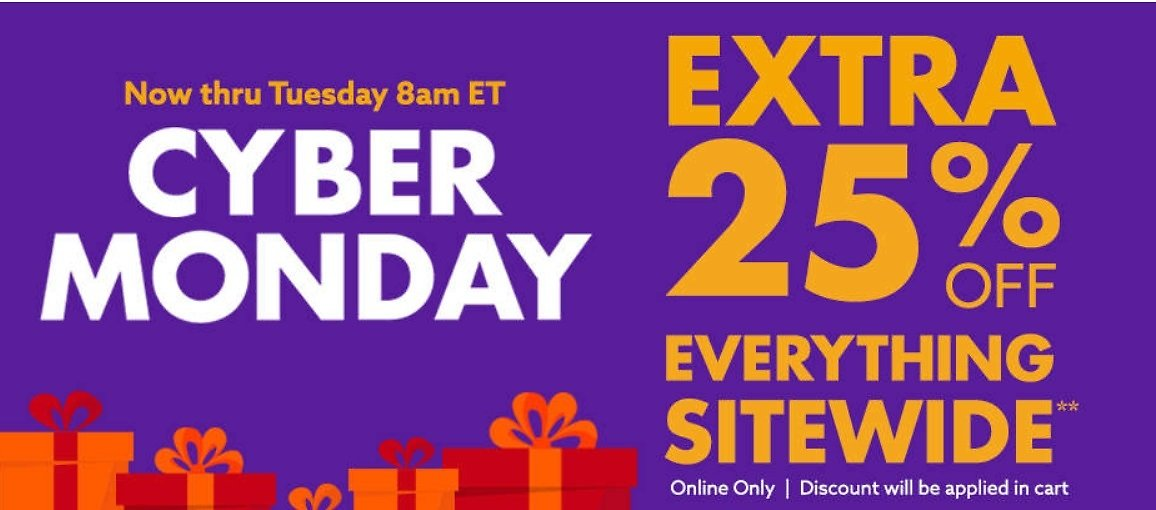 Cyber Monday Deals + Extra 25% Off Sitewide