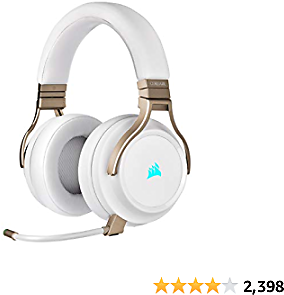 Corsair Virtuoso RGB Wireless Gaming Headset - High-Fidelity 7.1 Surround Sound W/Broadcast Quality Microphone - Memory Foam Earcups - 20 Hour Battery Life - Works with PC, PS5, PS4, Xbox One- Pearl