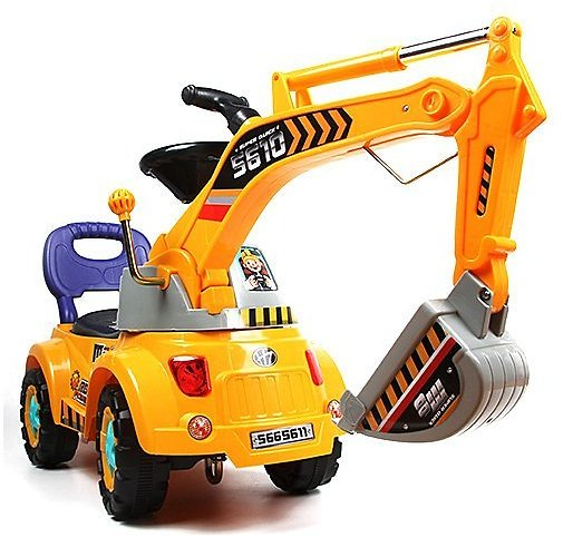 Yellow Ride-On Excavator Scooter Set