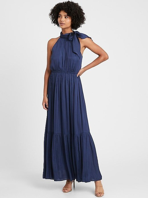 Satin Tie-Neck Maxi Dress