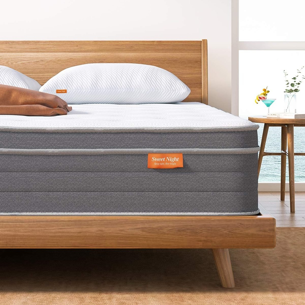 Sweet Night 10 Inch Queen Mattress In a Box - Sleep Cooler with Euro Pillow Top Gel Memory Foam, Individually Wrapped Pocket Springs Hybrid Mattresses for Motion Isolation, Queen Size, Island