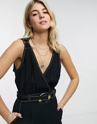 Moon River Belted Maxi Dress in Black