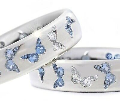 Women 925 Silver Butterfly White Topaz Band Ring Jewelry Wedding Gift Size 5