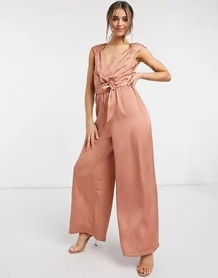 Liquorish Sleeveless Jumpsuit in Earthy Pink