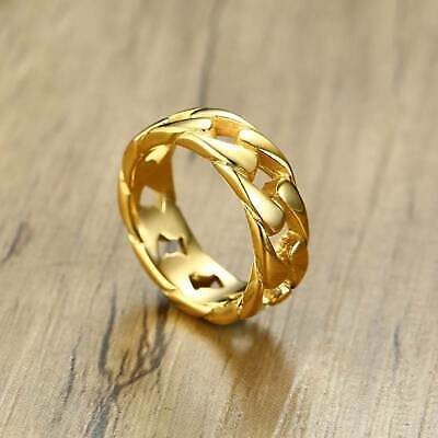 Luxury 18K Gold Cuban Curb Chain Ring Men Women Cool Party Band Jewelry #6-11