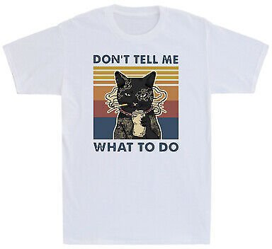 Don't Tell Me What To Do Black Cat Smoking Cigarette Vintage Men's T Shirt Funny