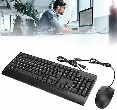 Wired Gaming Ergonomic Keyboard Mouse Combo USB Office 1600DPI For Computer PC