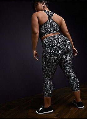 Black Reflective Dots Crop Wicking Active Legging with Pockets