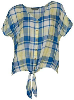 Natural Reflections Plaid Tie-Front Short-Sleeve Top for Ladies | Bass Pro Shops