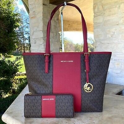 NWT MICHAEL KORS JET CENTER STRIPE TOTE/WALLET OPTIONS BROWN TRUE RED
