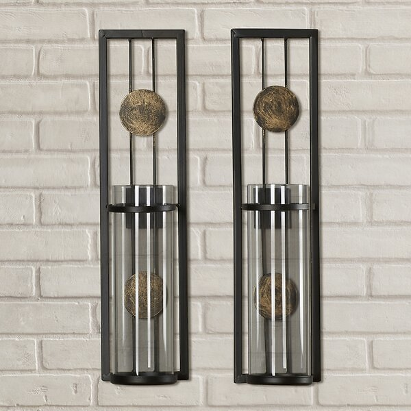 15% OFF ON Contemporary Tall Metal Wall Sconce