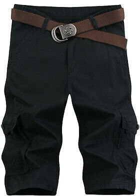 Mens Summer Cropped Trousers Shorts Casual Loose Overalls Pockets Cargo Pants Sz