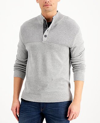 Club Room Men's Ribbed Four-Button Sweater