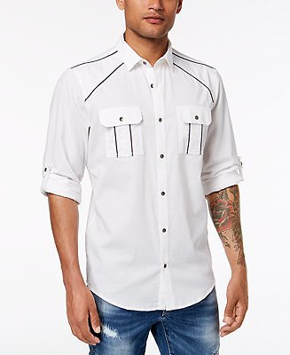 INC International Concepts INC Men's Piped Shirt, Created for Macy's & Reviews - Casual Button-Down Shirts - Men