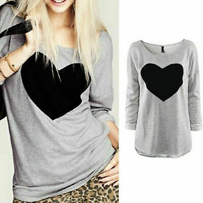 Women's T Shirt Love Heart Casual Ladies Loose Blouse Long Sleeve Tee Shirt Tops
