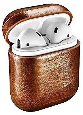 AirPods Case, ICARERCASE Genuine Leather Protective Cover Case for Apple AirPods 1 & 2 Charging Case [Front LED Not Visible] [Su
