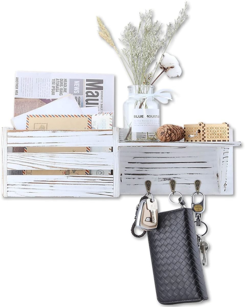 Rustic Key and Mail Holder, Wood Wall Mounted Vintage Organizer with 3 Hooks and Floating Shelf, Entry Hooks Hanger with Letter/