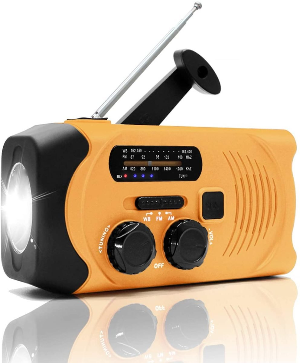 Lynex NOAA Weather Hand Crank Emergency AM/FM Radio Solar Charge with Survival Flashlight SOS Alarm Cell Phone Charger 2000mAh U
