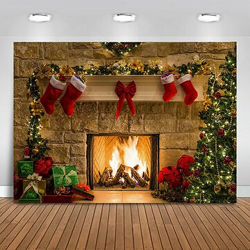 5x3ft 7x5ft 10x7ft Christmas Fireplace Red Socks Backdrop Photography Background Cloth Decoration Background Studio Prop Sale - Banggood.com