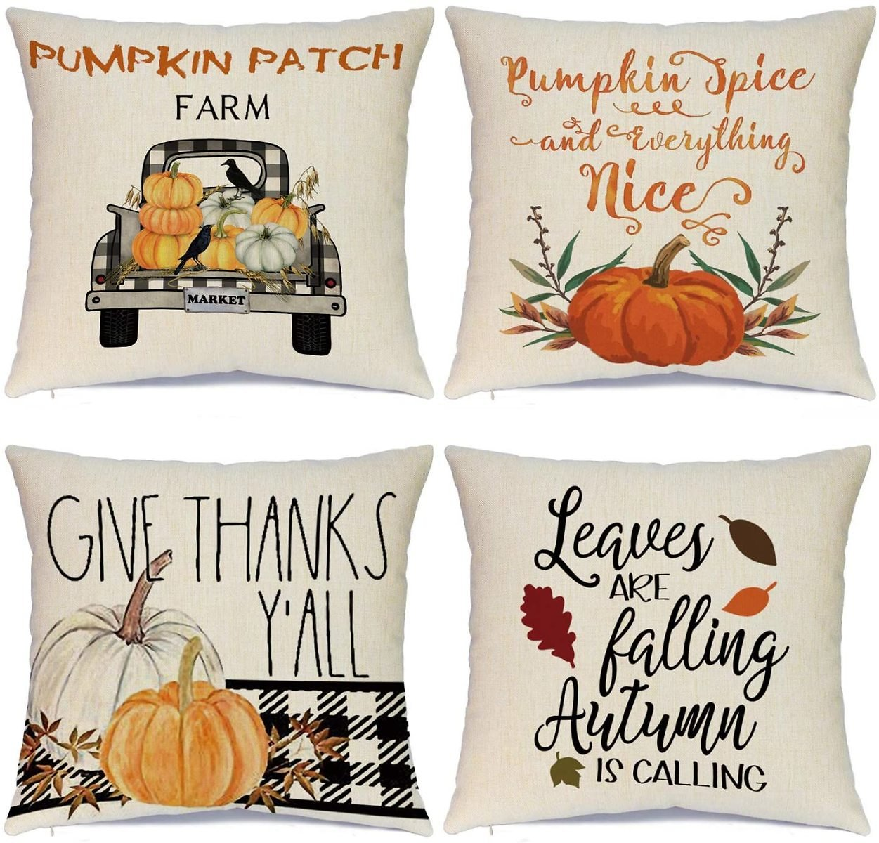 Hlonon Fall Pillow Covers Thanksgiving Pillow Covers 18 X 18 Inches Set of 4 - Fall Decor Series Cushion Cover Case Pillow Custo