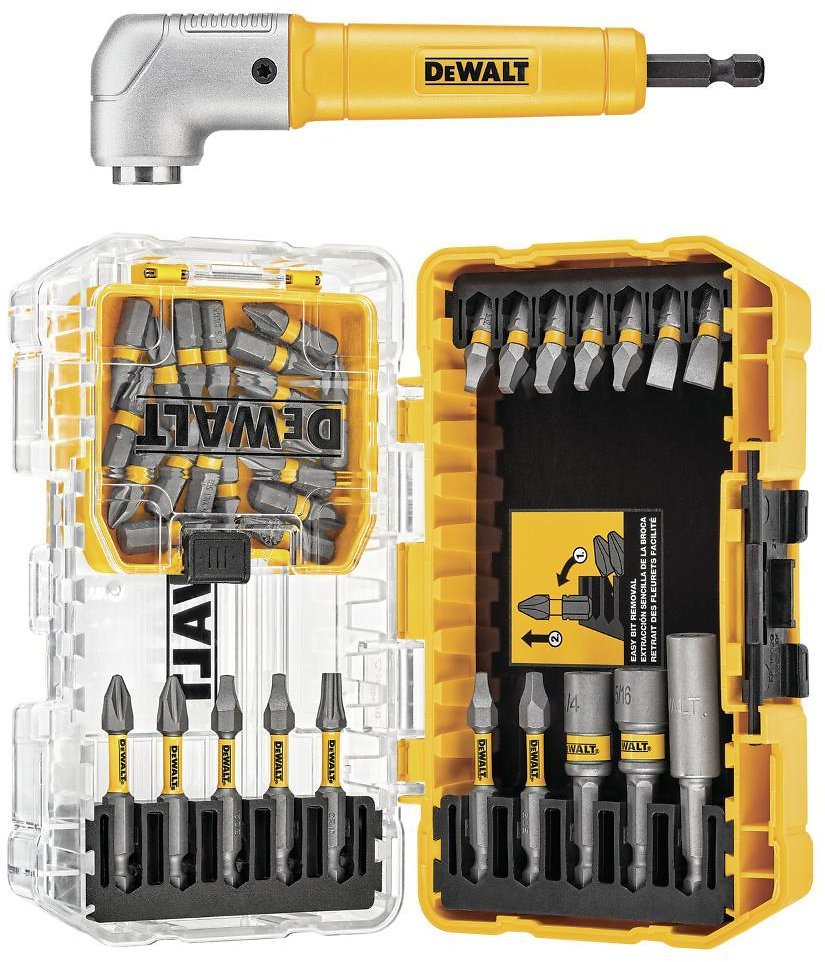 DEWALT Steel Drill and Driver Bit Set with Right Angle Adapter and Tough System Case (35-Piece)-DWAMF35RA