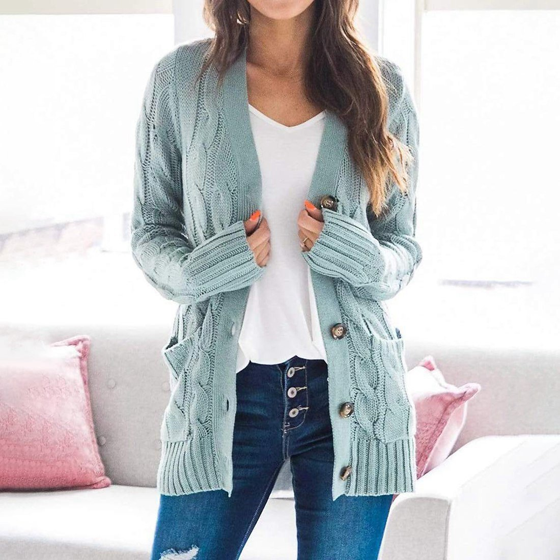 US $10.69 33% OFF|Women Sweater 2020 New Autumn/ Winter Fashion Women Cardigans Long Sleeve Button Sweater Women Casual Solid Single Knit Cardigan|Cardigans| - AliExpress