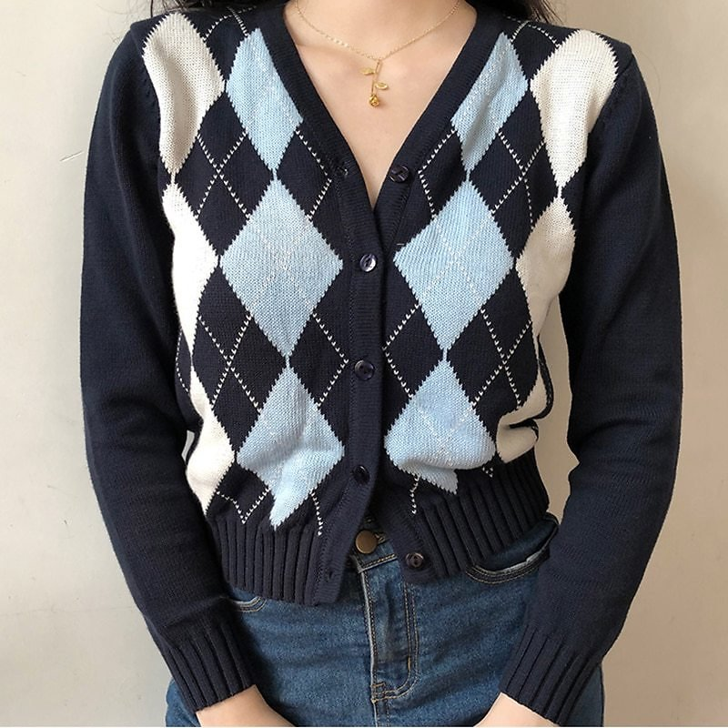 US $13.72 40% OFF|Vintage Geometric Argyle Sweater Cardigan Women Autumn Knit Long Sleeve V Neck Outerwear 2020 Elegant Knitted Ladies Sweaters|Cardigans| - AliExpress