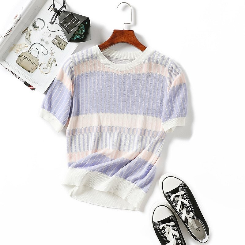 US $8.98 20% OFF|Women Summer Knitting Pullover Sweaters Casual O Neck Short Sleeve Knitting Striped Sweater Jumper Tops Lady Botom Tee WDC3653|Pullovers| - AliExpress